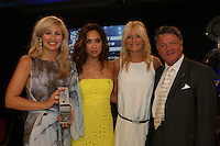 (L-R) Alison Balsom, Myleene Klass, Gabby Roslin, Fran Nevrkla (PPL Chairman). The Silver Clef Lunch 2013 in aid of  Nordoff Robbins held at the London Hilton, Park Lane, London.<br /> Friday, June 28, 2013 (Photo/John Marshall JME)