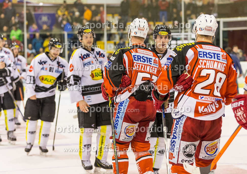 03.03.2015, Stadthalle, Klagenfurt, AUT, EBEL, EC KAC vs Dornbirner Eishockey Club, Qualifikationsrunde, im Bild shake hands nach dem Match // during the Erste Bank Icehockey League qualification round match betweeen EC KAC and Dornbirner Eishockey Club at the City Hall in Klagenfurt, Austria on 2015/03/03. EXPA Pictures © 2015, PhotoCredit: EXPA/ Gert Steinthaler