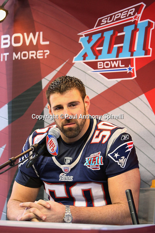 GLENDALE, AZ - JANUARY 29: Linebacker Mike Vrabel #50 of the New England Patriots speaks to the media at the Patriots Super Bowl XLII Media Day at University of Phoenix Stadium on January 29, 2008 in Glendale, Arizona.©Paul Anthony Spinelli *** Local Caption *** Mike Vrabel