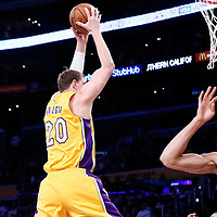 05 December 2016: Utah Jazz forward Gordon Hayward (20) grabs a rebound over Utah Jazz center Rudy Gobert (27) during the Utah Jazz 107-101 victory over the Los Angeles Lakers, at the Staples Center, Los Angeles, California, USA.