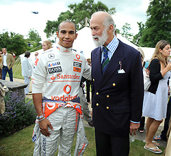 Left to right, LEWIS HAMILTON and HRH PRINCE MICHAEL OF KENT at the Cartier Atyle et Luxe, the Goodwood Festival of Speed, West Sussex on 13th July 2008.<br /> <br /> NON EXCLUSIVE - WORLD RIGHTS