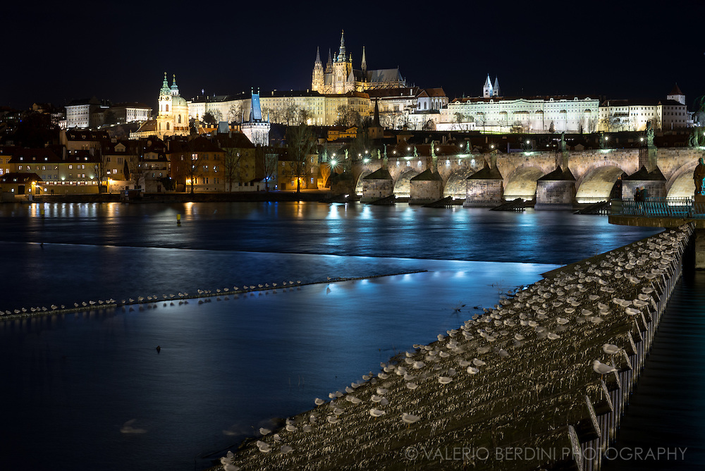 Nightscape of Prague with Charles Bridge, the city castle and Vltava River