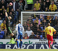 Photo: Lee Earle.<br /> Reading v Watford. The Barclays Premiership. 05/05/2007.Reading keeper Marcus Hahnemann (L) fails to reach the ball, allowing Marlon King (R) to score their second.