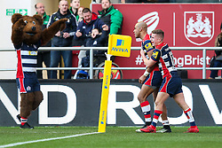 Tom Varndell of Bristol Rugby celebrates with Billy Searle after scoring his 2nd try - Rogan Thomson/JMP - 26/12/2016 - RUGBY UNION - Ashton Gate Stadium - Bristol, England - Bristol Rugby v Worcester Warriors - Aviva Premiership Boxing Day Clash.