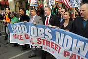 29 April 2010 New York, NY- l to r: Arlene Holt Baker, Vice President AFL-CIO, Richard Trumpka, President AFL-CIO, and Jack Ahern, President NYC Labor Council, and George Goehl, Executive Director of The National Peoples Action at The March on Wall Street held at City Hall Park with proceeding March on Wall Street Protest on April 29, 2010 in New York City.