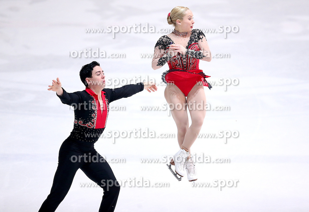 04.12.2015, Dom Sportova, Zagreb, CRO, ISU, Golden Spin of Zagreb, freies Programm, Paare, im Bild Caitlin Fields - Ernie Utah Stevens, USA. // during the 48th Golden Spin of Zagreb 2015 doubles Free Program of ISU at the Dom Sportova in Zagreb, Croatia on 2015/12/04. EXPA Pictures &copy; 2015, PhotoCredit: EXPA/ Pixsell/ Igor Kralj<br /> <br /> *****ATTENTION - for AUT, SLO, SUI, SWE, ITA, FRA only*****