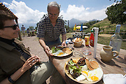 Chestnut omelettes, spare ribs and other Corsican specialties at te restaurant at the top of Bocca di Battaglia.