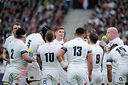 Owen Farrell (ENG) gave a briefing to partners during the NatWest 6 Nations 2018 rugby union match between France and England on March 10, 2018 at Stade de France in Saint-Denis, France - Photo Stephane Allaman / ProSportsImages / DPPI