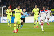 Luis Suárez of Barcelona and Aouar Houssem of Lyon during the UEFA Champions League, round of 16, 1st leg football match between Olympique Lyonnais and FC Barcelona on February 19, 2019 at Groupama stadium in Decines-Charpieu near Lyon, France - Photo Romain Biard / Isports / ProSportsImages / DPPI