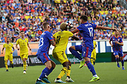 Gyasi Zardes #11 of the Columbus Crew battles for the ball against Maikel van Der Were #23 and Mathieu Deplagne #17 of FC Cincinnati during a MLS soccer game, Sunday, Aug 25th, 2019, in Cincinnati, OH. (Jason Whitman/Image of Sport)