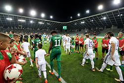 Players arriving to the field before football match between NK Olimpija Ljubljana and NK Maribor in 7th Round of Prva liga Telekom Slovenije 2017/18, on August 27, 2017 in SRC Stozice, Ljubljana, Slovenia. Photo by Matic Klansek Velej / Sportida