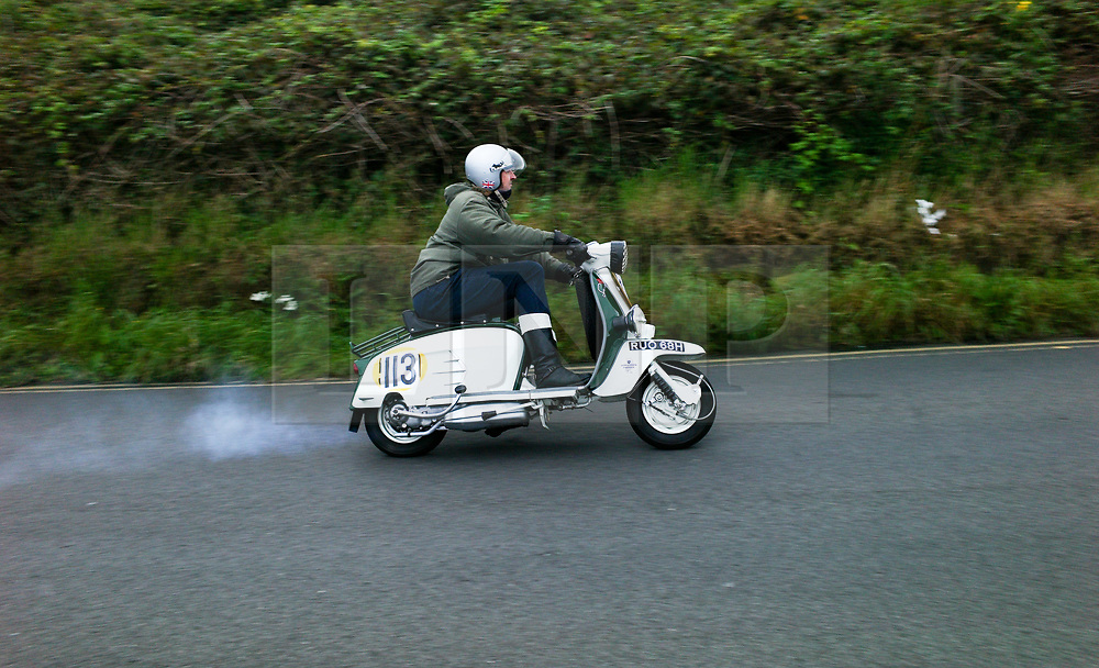© Licensed to London News Pictures. <br /> 10/09/2017 <br /> Saltburn by the Sea, UK.  <br /> <br /> An entrant rides his scooter up the hill during the annual Saltburn by the Sea Historic Gathering and Hill Climb event. Organised by Middlesbrough and District Motor Club the event brings together owners of a wide range of classic cars and motorcycles dating from the early 1900's to 1975. Participants take part in a hill climb to test their machines up a steep hill near the town. Once held as a competitive gathering a change in road regulations forced the hill climb to become a non-competitive event.<br /> <br /> Photo credit: Ian Forsyth/LNP
