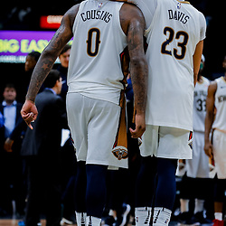 Jan 22, 2018; New Orleans, LA, USA; New Orleans Pelicans forward Anthony Davis (23) hugs center DeMarcus Cousins (0) during the double overtime against the Chicago Bulls at  the Smoothie King Center. The Pelicans defeated the Bulls 132-128 in double overtime. Mandatory Credit: Derick E. Hingle-USA TODAY Sports