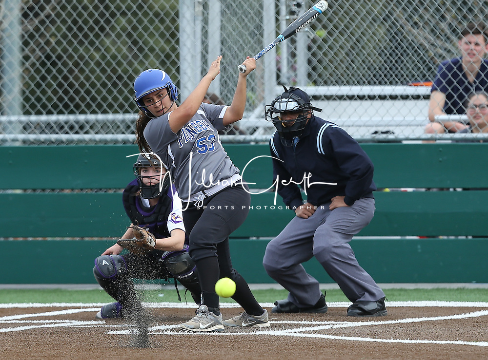 Pioneer vs Monta Vista in a pre season girls varsity softball game at Monta Vista High School, Cupertino CA on 3/3/16. (Photograph by Bill Gerth (Max Preps)