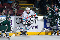 KELOWNA, CANADA - JANUARY 08: Cole Linaker #26 of Kelowna Rockets shoots the puck against the Everett Silvertips on January 8, 2016 at Prospera Place in Kelowna, British Columbia, Canada.  (Photo by Marissa Baecker/Shoot the Breeze)  *** Local Caption *** Cole Linaker;