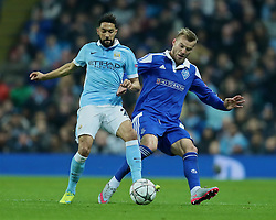 MANCHESTER, ENGLAND - Tuesday, March 15, 2016: Manchester City's Gael Clichy in action against FC Dynamo Kyiv's Andriy Yarmolenko during the UEFA Champions League Round of 16 2nd Leg match at the City of Manchester Stadium. (Pic by David Rawcliffe/Propaganda)