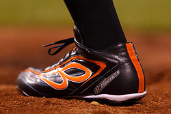 SAN FRANCISCO, CA - MAY 09:  Detailed view of a baseball cleat worn by Ichiro Suzuki #51 of the Miami Marlins during the seventh inning against the San Francisco Giants at AT&T Park on May 9, 2015 in San Francisco, California. The Miami Marlins defeated the San Francisco Giants 6-2.  (Photo by Jason O. Watson/Getty Images) *** Local Caption *** Ichiro Suzuki