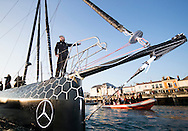 The Vendee Globe 2016 - 2017<br /> British yachtsman Alex Thomson onboard his &lsquo;Hugo Boss&rdquo;  IMOCA Open60. He finished 2nd in the Vendee Globe solo non stop around the world yacht race. Shown here in the Sables d Olonne port celebrating. He completed the solo non stop around the world race in 74days. 19hours and 35 minutes<br /> <br /> Photo by Lloyd Images