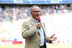 11.07.2015, Alianz Arena, Muenchen, GER, 1. FBL, FC Bayern Muenchen, Teampräsentation, im Bild Vorstandsvorsitzender Karl-Heinz Rummenigge (FC Bayern Muenchen) im Interview // during the Teampresentation of German Bundesliga Club FC Bayern Munich at the Alianz Arena in Muenchen, Germany on 2015/07/11. EXPA Pictures © 2015, PhotoCredit: EXPA/ Eibner-Pressefoto/ Kolbert<br /> <br /> *****ATTENTION - OUT of GER*****