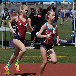 Staff photos by Tom Kelly IV<br /> Cardinal O'Hara had three runners who happen to be sisters in the top four seeds of the girls AAA 1600m run during the District 12 track and field championships in Philadelphia, Thursday afternoon.  Grace (left) and Elizabeth Mancini here run in the final.