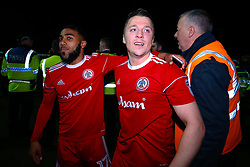 Scott Brown and Erico Sousa of Accrington Stanley celebrate winning promotion to Sky Bet League One - Mandatory by-line: Robbie Stephenson/JMP - 17/04/2018 - FOOTBALL - Wham Stadium - Accrington, England - Accrington Stanley v Yeovil Town - Sky Bet League Two
