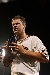 SAN FRANCISCO, CA - JUNE 13: Matt Cain #18 of the San Francisco Giants stands in the dugout after the game against the Houston Astros at AT&T Park on June 13, 2012 in San Francisco, California. Cain pitched a perfect game as the San Francisco Giants defeated the Houston Astros 10-0. (Photo by Jason O. Watson/Getty Images) *** Local Caption *** Matt Cain