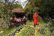 Chelsea Pensioner garden. Royal Horticultural Society's Chelsea Flower Show, Royal Hospital's grounds. Chelsea. 23 May 2005.  ONE TIME USE ONLY - DO NOT ARCHIVE  © Copyright Photograph by Dafydd Jones 66 Stockwell Park Rd. London SW9 0DA Tel 020 7733 0108 www.dafjones.com