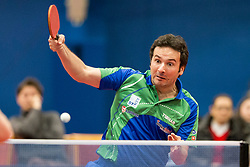 Bojan Tokic of Slovenia during Qualification match between National teams of Slovenia and Belgium for ITTF European Championship 2019, on February 27, 2018 in Otocec, Slovenia. Photo by Urban Urbanc / Sportida