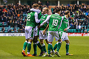 Florian Kamberi (#22) of Hibernian celebrates Hibernian's first goal (1-1) with Efe Ambrose (#25) of Hibernian and Dylan McGeouch (#10) of Hibernian during the Ladbrokes Scottish Premiership match between Hibernian and Hamilton Academical FC at Easter Road, Edinburgh, Scotland on 3 April 2018. Picture by Craig Doyle.