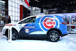 09 February 2017: Toyota Chicago Cubs RAV4<br /> <br /> First staged in 1901, the Chicago Auto Show is the largest auto show in North America and has been held more times than any other auto exposition on the continent.  It has been  presented by the Chicago Automobile Trade Association (CATA) since 1935.  It is held at McCormick Place, Chicago Illinois<br /> #CAS17