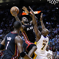10 March 2011: Miami Heat small forward LeBron James (6) goes for the layup against Los Angeles Lakers power forward Lamar Odom (7) during the Miami Heat 94-88 victory over the Los Angeles Lakers at the AmericanAirlines Arena, Miami, Florida, USA.