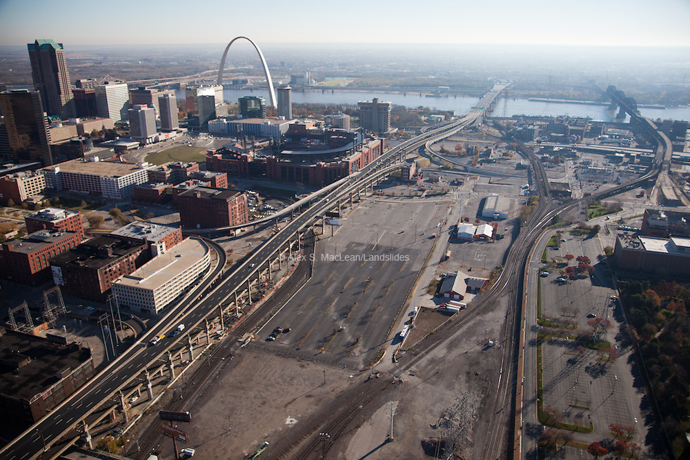 Busch Stadium parking zone to the south.