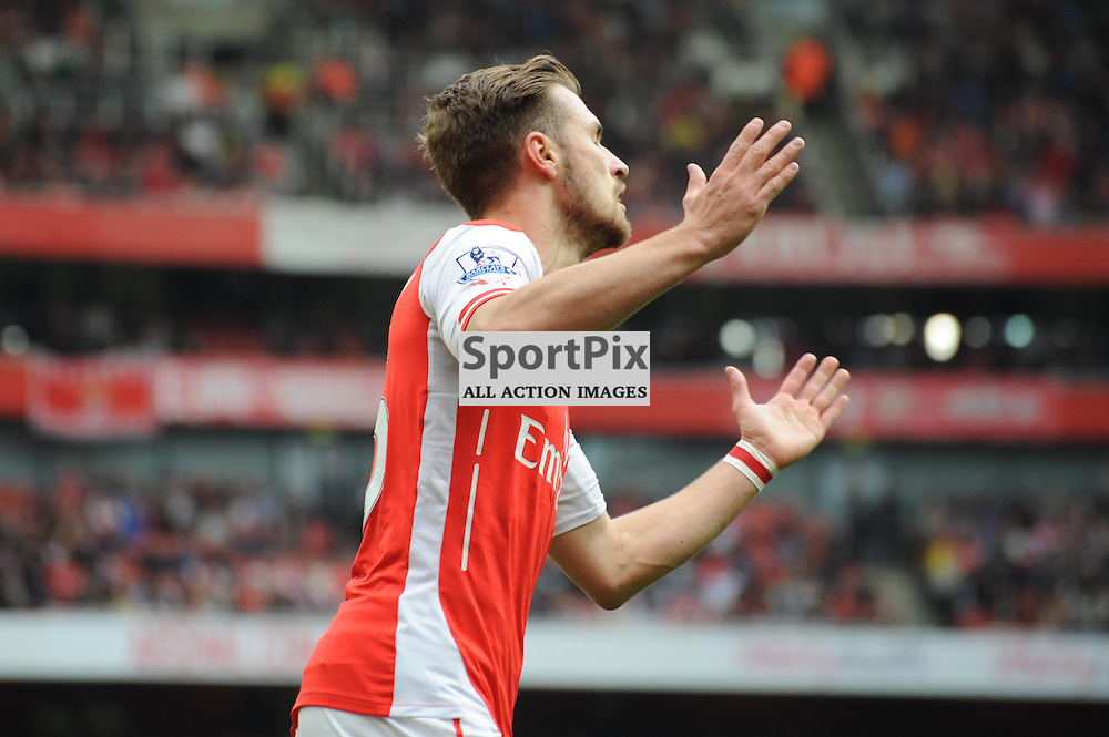 Arsenals Aaron Ramsey is frustrated after seeing his shot hit the bar during the Arsenal v West Brom match on Sunday 24th May 2015