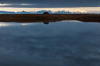 Sumarhús við Hæðargarðsvatn, sunnan við Kirkjubæjarklaustur. Holiday homes by Lake Haedargardsvatn, south of Kirkjubaejarklaustur, Iceland.
