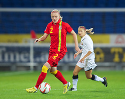 CARDIFF, WALES - Thursday, September 26, 2013: Wales' Helen Bleazard in action against Belarus during the FIFA Women's World Cup Canada 2015 Qualifying Group 6 match at the Cardiff City Stadium. (Pic by David Rawcliffe/Propaganda)