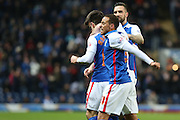 Ben Marshall celebrates his goal with Elliott Bennett of Blackburn during the Sky Bet Championship match between Blackburn Rovers and Fulham at Ewood Park, Blackburn, England on 16 February 2016. Photo by Simon Brady.