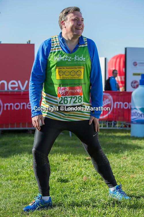 Ed Balls in the celebrity area ahead of the Green Start at The Virgin Money London Marathon 2014 on Sundy 13 April 2014<br /> Photo: Neil Turner/Virgin Money London Marathon<br /> media@london-marathon.co.uk