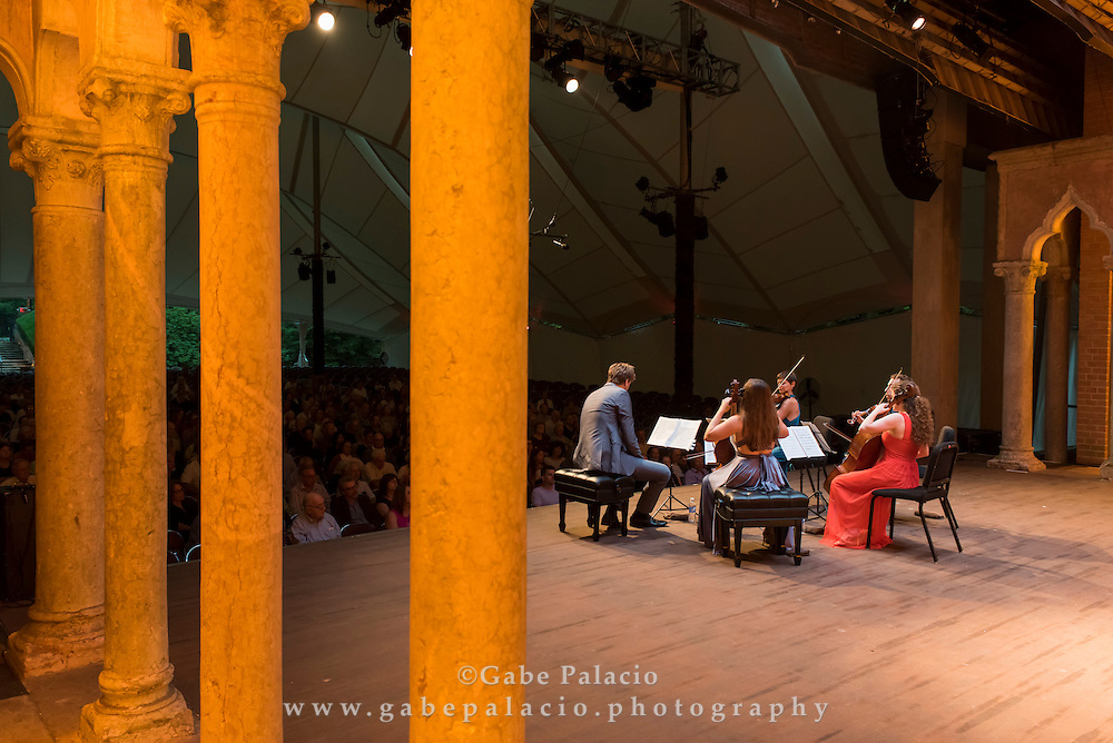 Alisa Weilerstein, 2014 Artist-in-Residence, with the Ariel Quartet in the Venetian Theater at Caramoor in Katonah New York on August 1, 2014. <br /> (photo by Gabe Palacio)