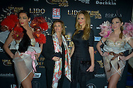 Ingrid Chauvin, Adrianna Karembeu during the 12th final of the Top Model Belgium in the Lido of Paris with Adrianna Karembeu as presenter and Ingrid Chauvin and Satya Oblette for the president of the jury, 24 januari 2016, Paris, France