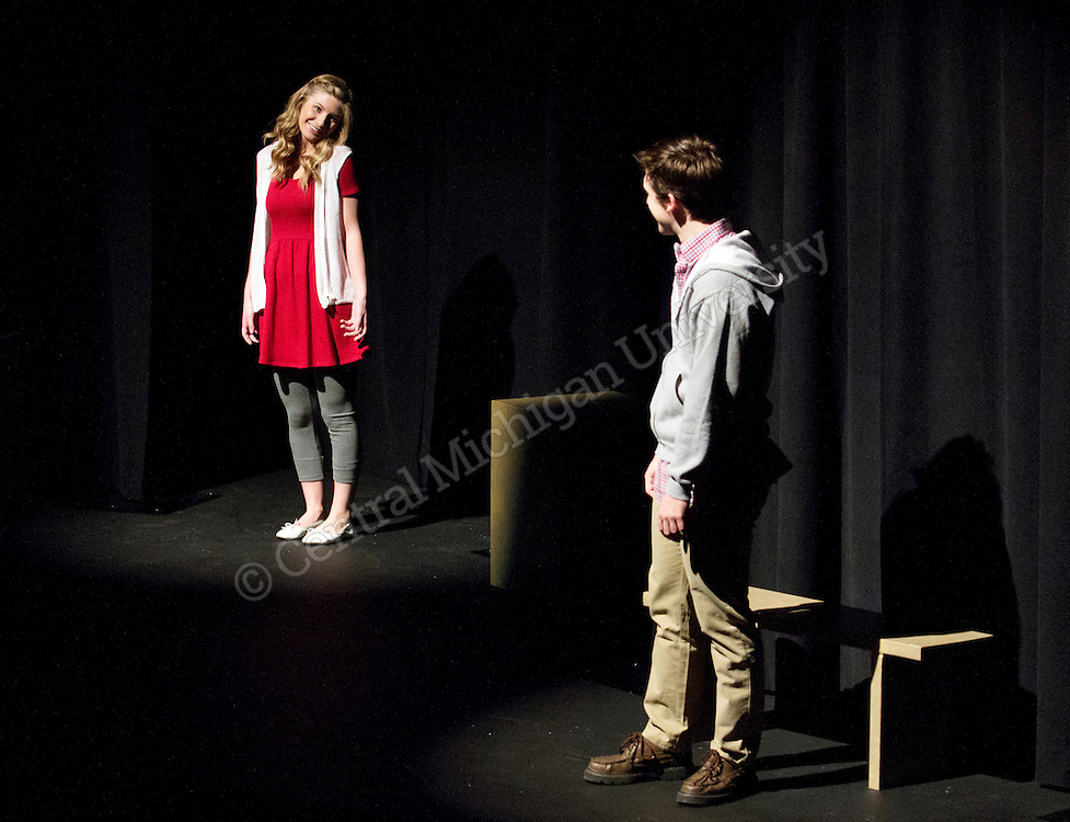 Damon S. A. Hunter and Caylin Waller perform Jerry Finnegan's Sister in the Fred R. Bush Theatre photo by Emily Mesner