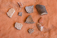 Pottery shards at Perfect Kiva Site, Bullet Canyon, Grand Gulch Primitive Area, Cedar Mesa Utah Bears Ears National Monument
