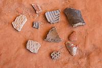 Pottery shards at Perfect Kiva Site, Bullet Canyon, Grand Gulch Primitive Area, Cedar Mesa Utah Bears Ears National Monument