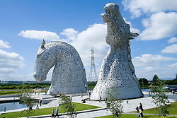 The Kelpies, at Grangemouth Falkirk, are 30m (98ft) tall horse head statues beside the Forth and Clyde Canal, in Helix park. The 300-ton sculptures were created by Glasgow artist Andy Scott and inspired by the shape shifting mythological creatures called Kelpies which are reputed to haunt the rivers and streams of Scotland.<br />