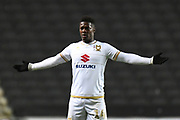 Milton Keynes Dons striker Kieran Agard (14) during the EFL Trophy match between Milton Keynes Dons and Wycombe Wanderers at stadium:mk, Milton Keynes, England on 12 November 2019.