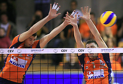 Alen Pajenk and Andrej Flajs of ACH Volley at volleyball match of CEV Indesit Champions League Men 2008/2009 between ACH Volley Bled (SLO) and Beauvais Oise (FRA), on December 11, 2008 in Hala Tivoli, Ljubljana, Slovenia. (Photo by Vid Ponikvar / Sportida)