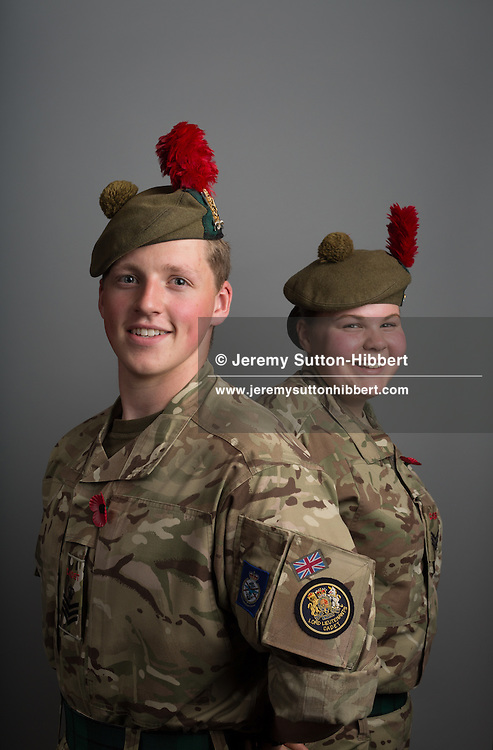 Sergeant Louise Matthew of the Arbroath Blackwatch detachment army cadet force, with Staff Sergeant Cameron Keith, Forfar BlackWatch detachment army cadet force Angus and Dundee battalion, in Scotland, on 11 August 2016.