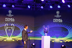 December 12, 2017 - Kiev, Ukraine - Ukraine's national soccer team coach Andriy Shevchenko speaks next to the UEFA Champions League trophy, during the presentation of the logo of the 2018 Champions League final soccer match in Kiev, Ukraine, 12 December, 2017.  The UEFA Champions League final will be played at the Olimpiyskiy stadium on 26 May 2018 in Kiev. (Credit Image: © Str/NurPhoto via ZUMA Press)