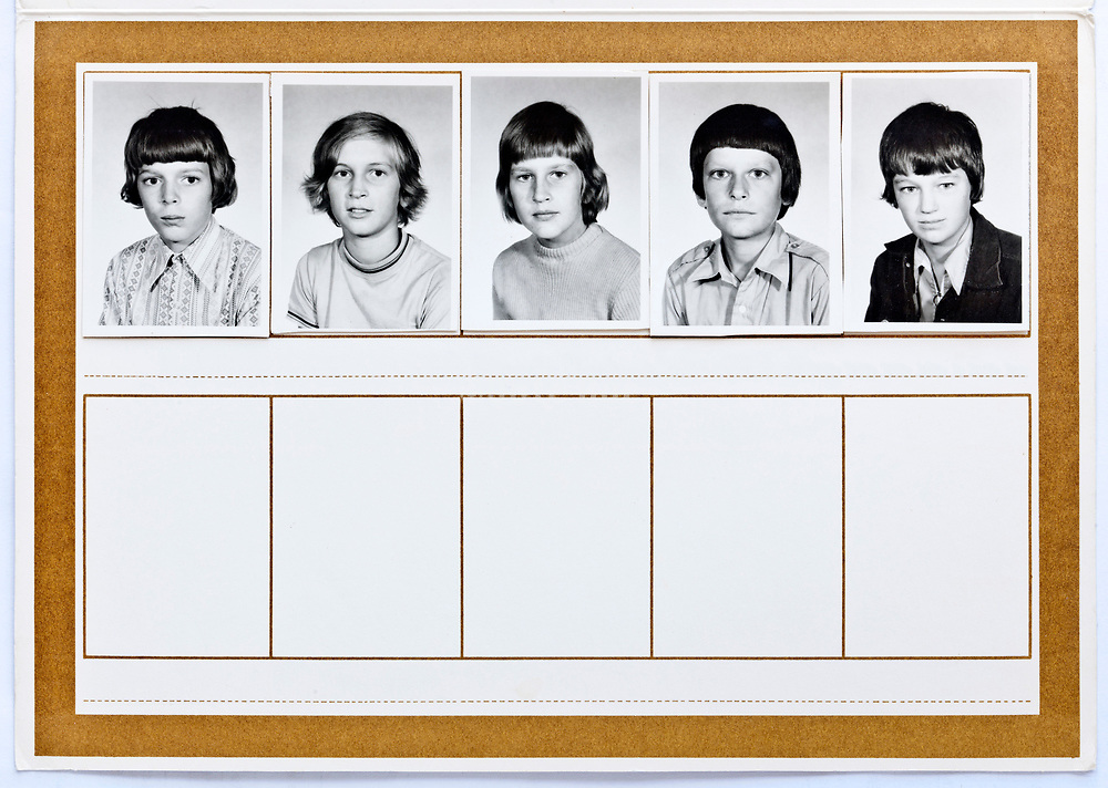 school memory document with individual portrait Netherlands 1970s