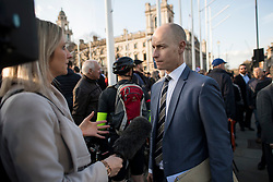© Licensed to London News Pictures. 26/03/2018. London, UK. Labour MP STEPHEN KINNOCK joins a demonstration outside the Houses of Parliament in London held by Members of the Jewish community and Jewish leaders, against Jeremy Corbyn, who they accuse of not acting on anti-semitic behaviour in the Labour Party. Photo credit: Ben Cawthra/LNP