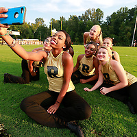 Thomas Wells | BUY at PHOTOS.DJOURNAL.COM<br /> Lazareya Gibbs, 15, takes a selfie with the rest of the Ripley Dance team before their game on Friday against Corinth.